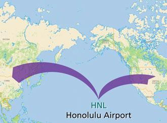 Pacific rim flights via Honolulu airport